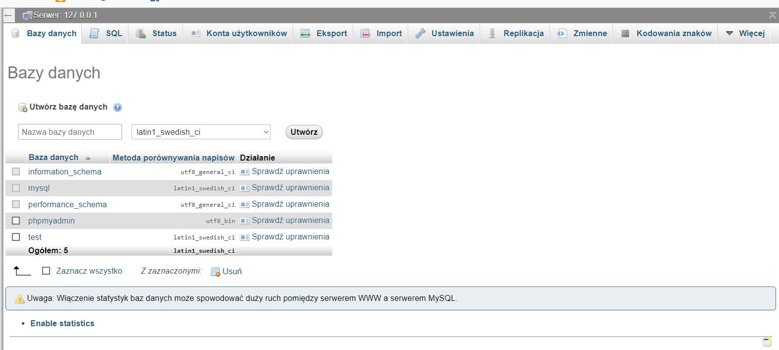 """3e3fc9c44e404f Jeżeli zainstalowałeś serwer xampp, korzystając z instrukcji zawartej w  poprzedniej lekcji, przejdź do narzędzia phpMyAdmin do zakładki """"Bazy  danych"""""""